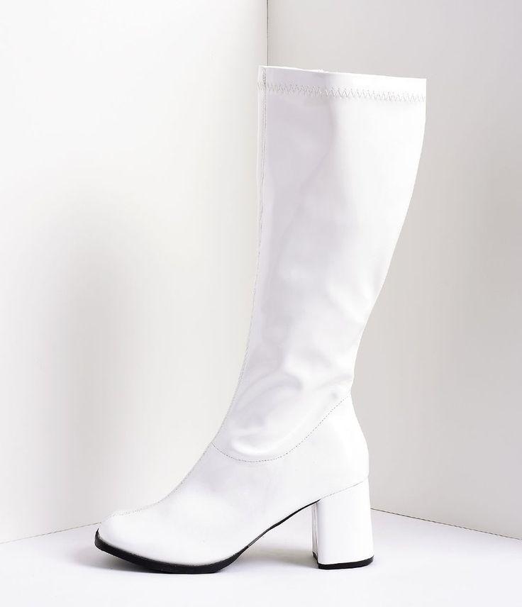 White Stretch Patent Knee High Go Go