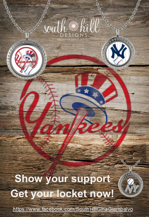 NY Yankees. Go Bronx Bombers! Custom lockets from South Hill Designs by Independent Artist Gina Giambalvo