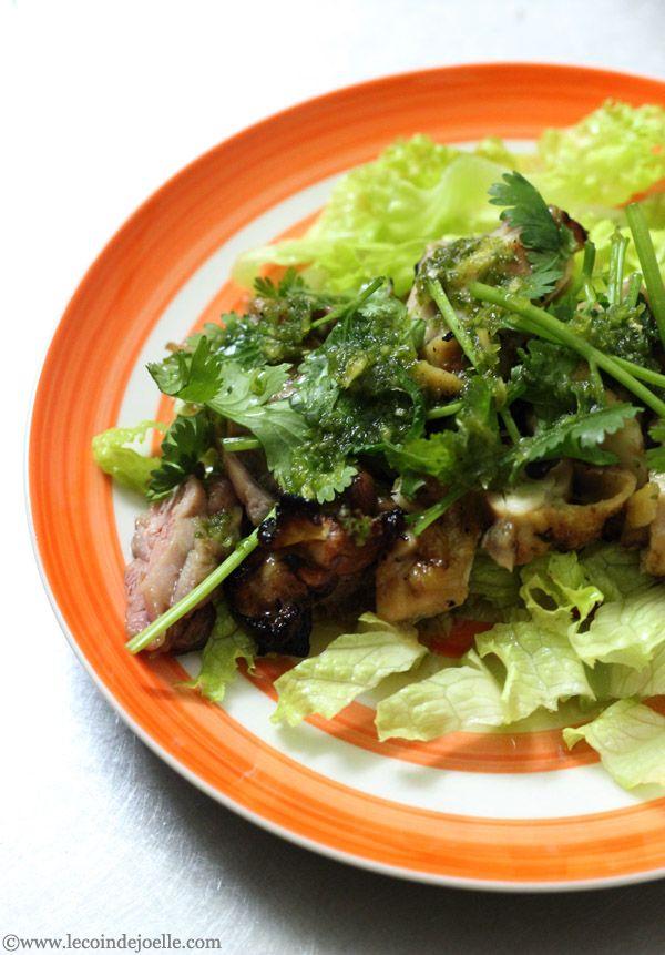 """""""C'est bientôt l'été, alors je vais vous apprendre à faire des grillades de poulet à la façon thaïe. Vous pourrez refaire cette recette avec des crevettes ou du porc, vous verrez c'est très facile...."""
