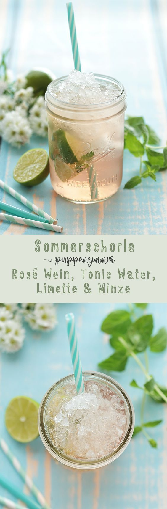 Summer spritzer with rosé, tonic water, lime and mint