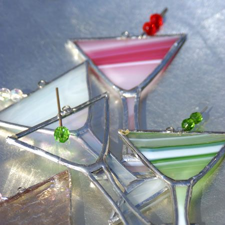 Stained Glass Martini Ornaments, set of 5