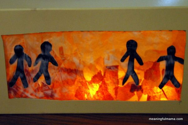 shadrach, meshach and abednego craft - very simple directions and supplies. (box, glue, wax paper, tissue papers, flameless tea lights...)  plus directions and comments...