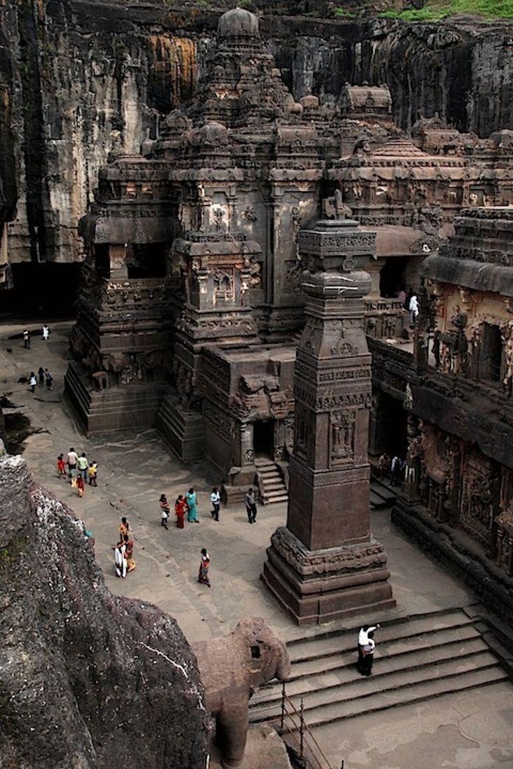 The rock hewn temple of Kailasa in Ajanta Ellora cave area, India.