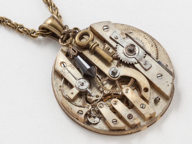 steampunk by necklace vintagememoryjewelry pin clockwork watch vintage