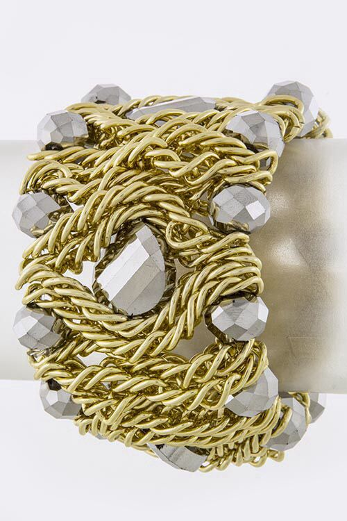 """Faceted Jewel Bracelet Silver/Gold approx. 2.5"""" diameter, stretchable  $24.00 with FAST, FREE SHIPPING"""