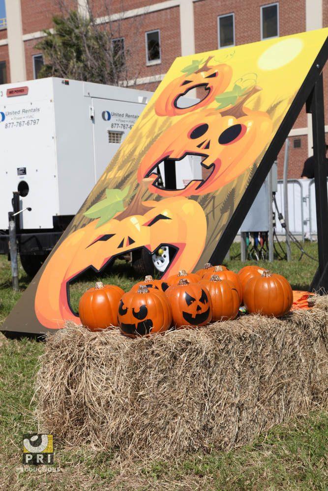 pumpkin chunkin' toss for a backyard fall event