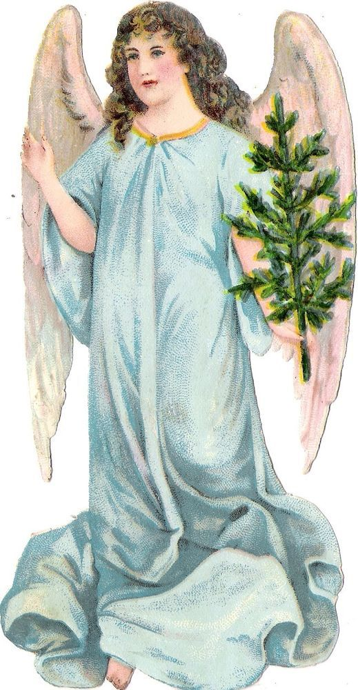 Oblaten Glanzbild scrap die cut chromo Engel angel 16cm XMAS tree Baum