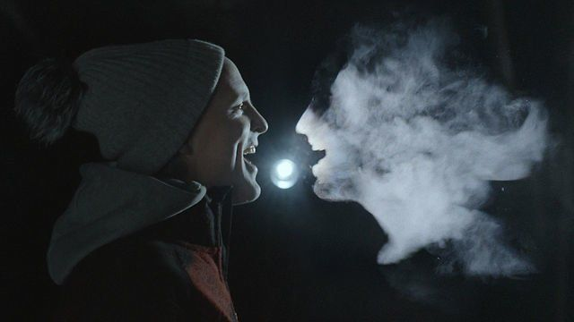 All visuals captured in camera by back projecting the animated story into the breaths of the band.  In the same way that you can see your breath on a cold day, we filmed at -1ºC to make the animations appear.  Watch the making of here: https://vimeo.com/69389616  Directed by Wriggles & Robins
