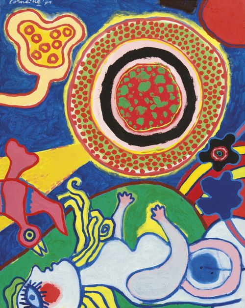 Corneille (Dutch, 1922-2010), Grand soleil, oiseau et femme baroque, 1971. Acrylic on canvas, 92 x 73 cm.