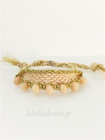 Labelladonna.gr - Βραχιόλι ροζ παλ-χρυσό με ροζ χάντρες