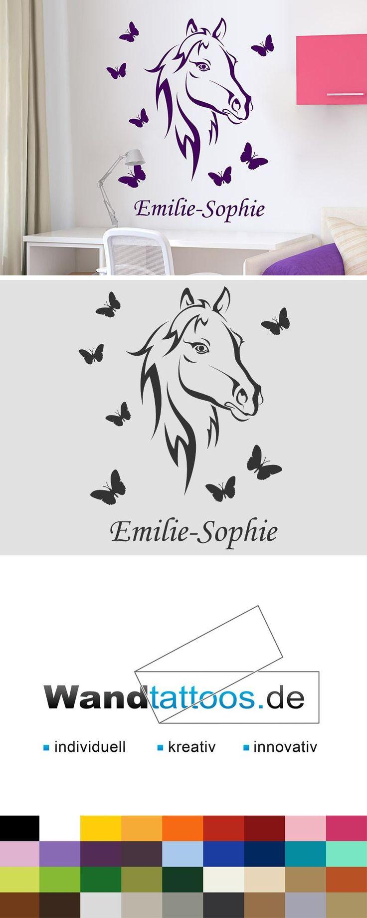 Wandtattoo Pferd mit Wunschname als Idee zur individuellen Wandgestaltung. Einfach Lieblingsfarbe und Größe auswählen. Weitere kreative Anregungen von Wandtattoos.de hier entdecken!