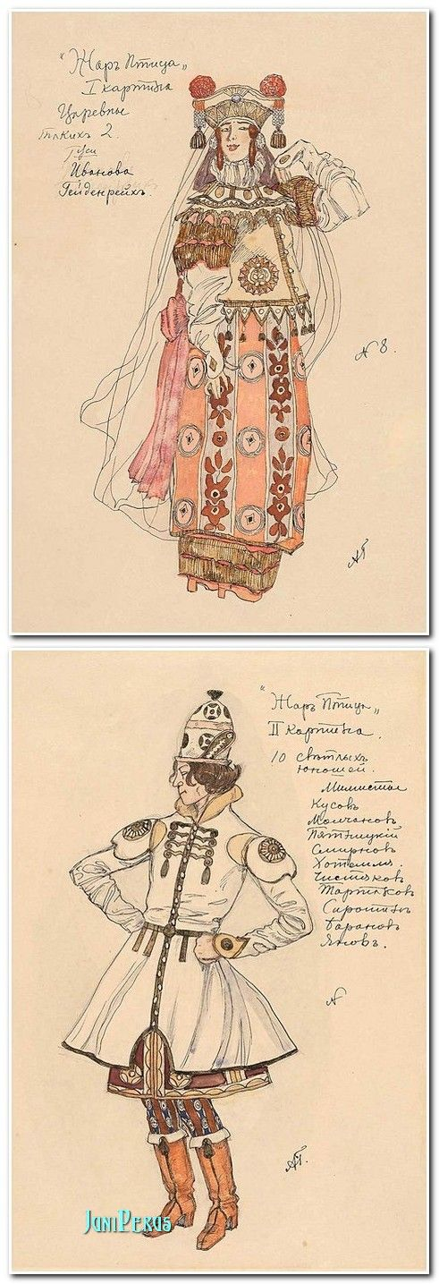"Alexander Golovin - Costume designs for ""The Firebird"", 1910 ""The Firebird"" is a ballet by Igor Stravinsky, part of famous Sergei Diaghilev's Ballets Russes seasons."