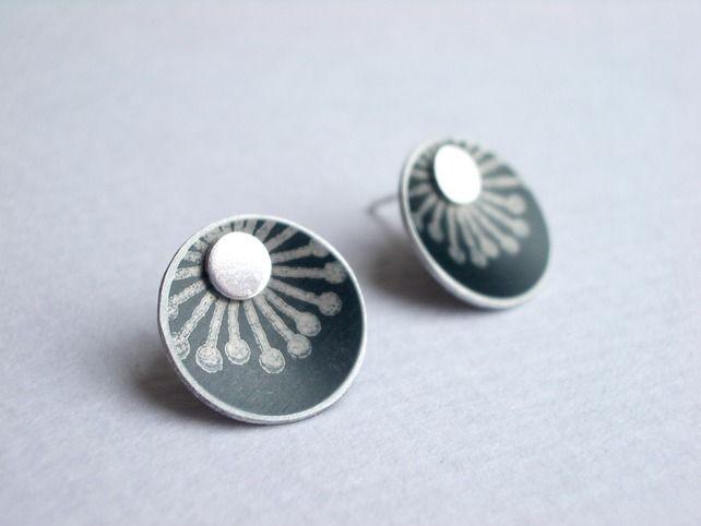 Starburst+black+and+silver+stud+earrings £13.00