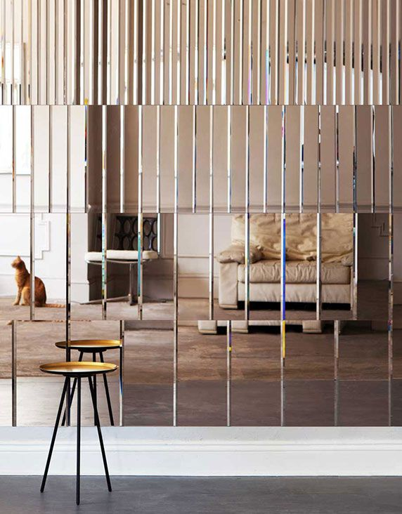 Designed as part of AfroditiKrassa's first product range, the AKollection. Bevelled and tinted mirror glass wall panels. Each mirror panel measures 450mm x 450mm x 4mm and comes on a foil backing. Panels are available in four different patterns and three colours, which can be mixed.