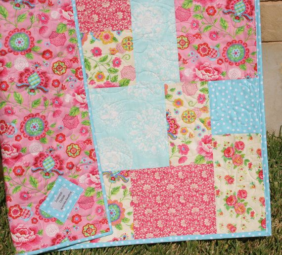 Baby Girl Quilt Pink Blue Girly Girl Blanket Gypsy Girl