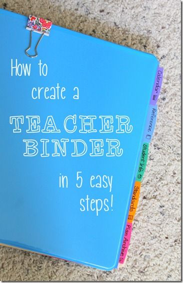 how to create a teacher binder ~ luckeyfrogs lilypad-I liked the advice of using the cover to house things you need at a glance instead of a cute cover