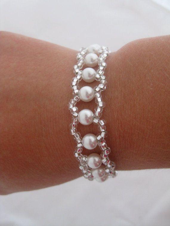 Swarovski white Pearl Wedding Bracelet