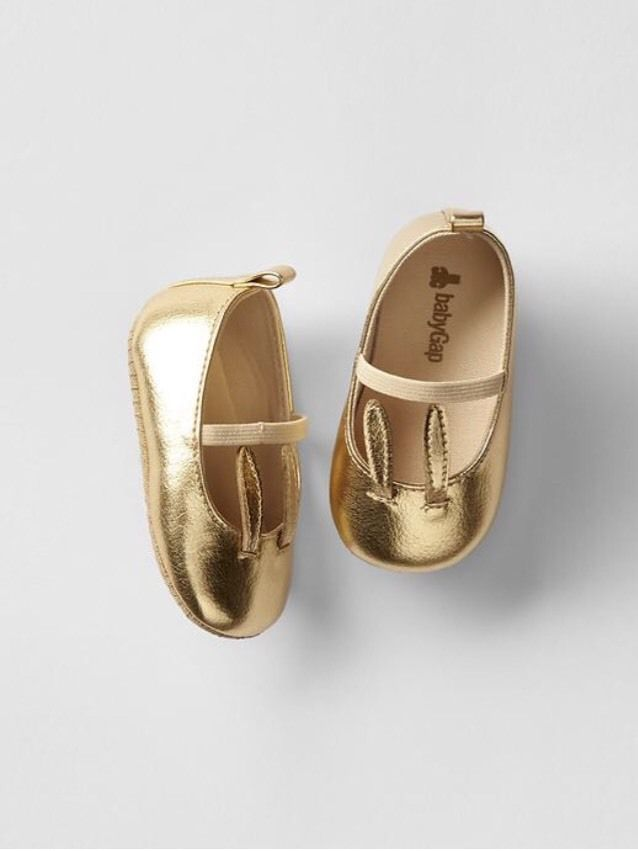 GAP Baby / Toddler Girls 12-18 Months Metallic Gold Mary Jane Bunny Easter Shoes