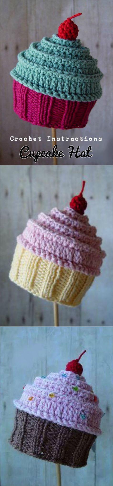 Chapéu de Cupcake Crochet