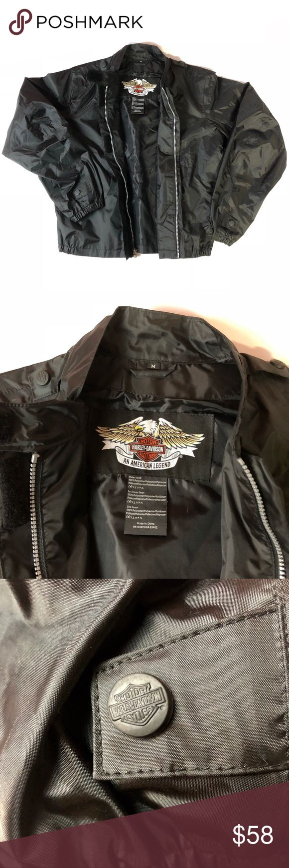 Harley-Davidson All Black Motorcycle Riding Jacket Pre-owned in Excellent Condition!  Size Adult Medium   Orders ship next business day with cleared payment thanks for your interest Harley-Davidson Jackets & Coats Performance Jackets