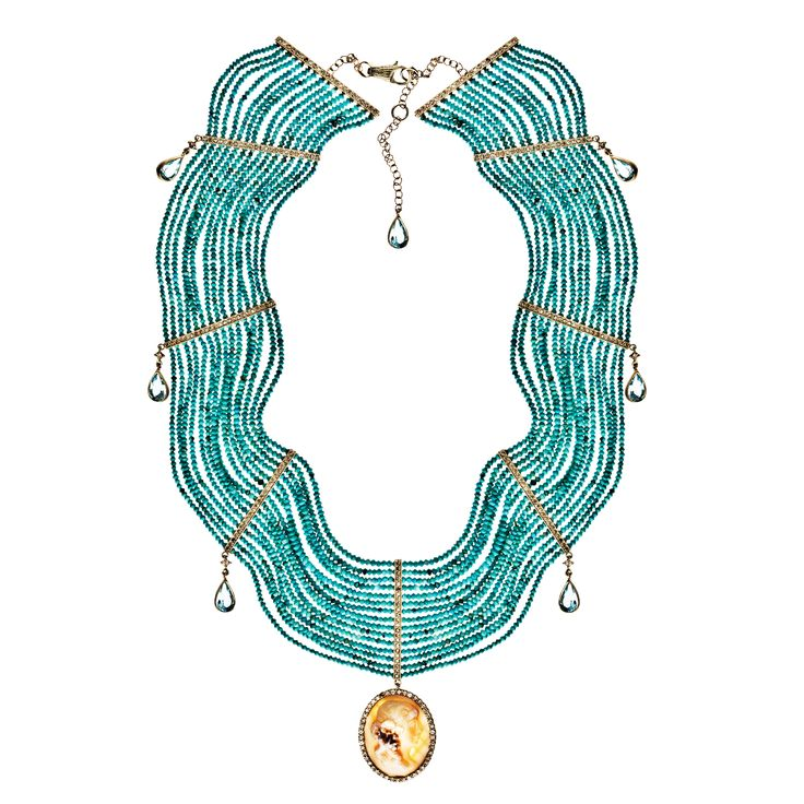 Necklace 533/YG/TU | Shell Cameo / Turquoise Beads / Pear Shape Topaz Diamond / Yellow Gold