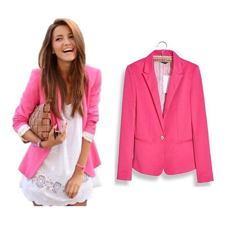 Heiße Stilvolle Frauen Candy Farbe Blazer Jacken One Button Solid schlank Damen Blazer Arbeitskleidung Langarm Marke Büro Anzug Blazer