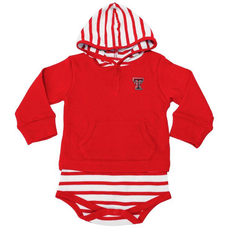 Unisex Infant Red Texas Tech Red Raiders Stripe Hooded Bodysuit
