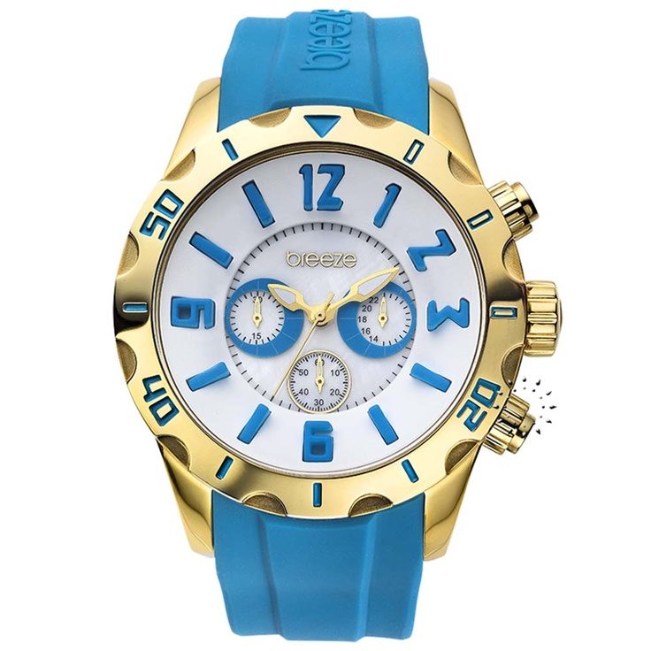 BREEZE California Dream Chrono Light Blue Rubber Strap Μοντέλο: 110051.7 Τιμή: 170€ http://www.oroloi.gr/product_info.php?products_id=30511