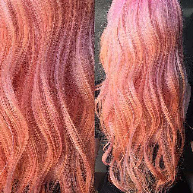 Beautiful peach hair color by Sam Ploskonka pink hair hotonbeauty.com