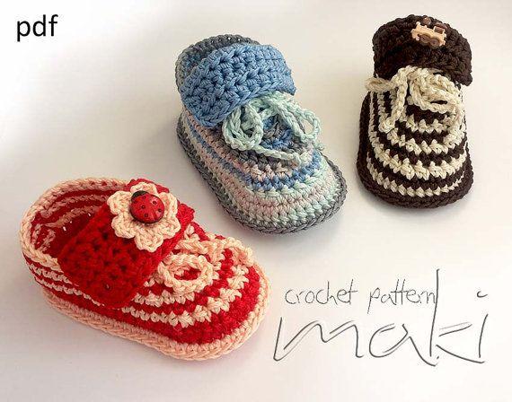 Crochet pattern baby booties - Super cute baby shoes crochet pattern! For boys and girls! Pattern No. 109