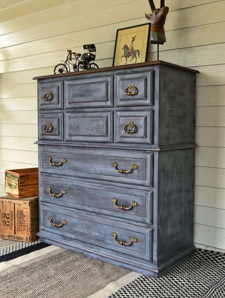 Large Charcoal Blue Chest of Drawers with Timber Top & Brass Handles.   Painted in a custom chalk paint, layered with black, grey and blue.   www.rawrevivals.com.au