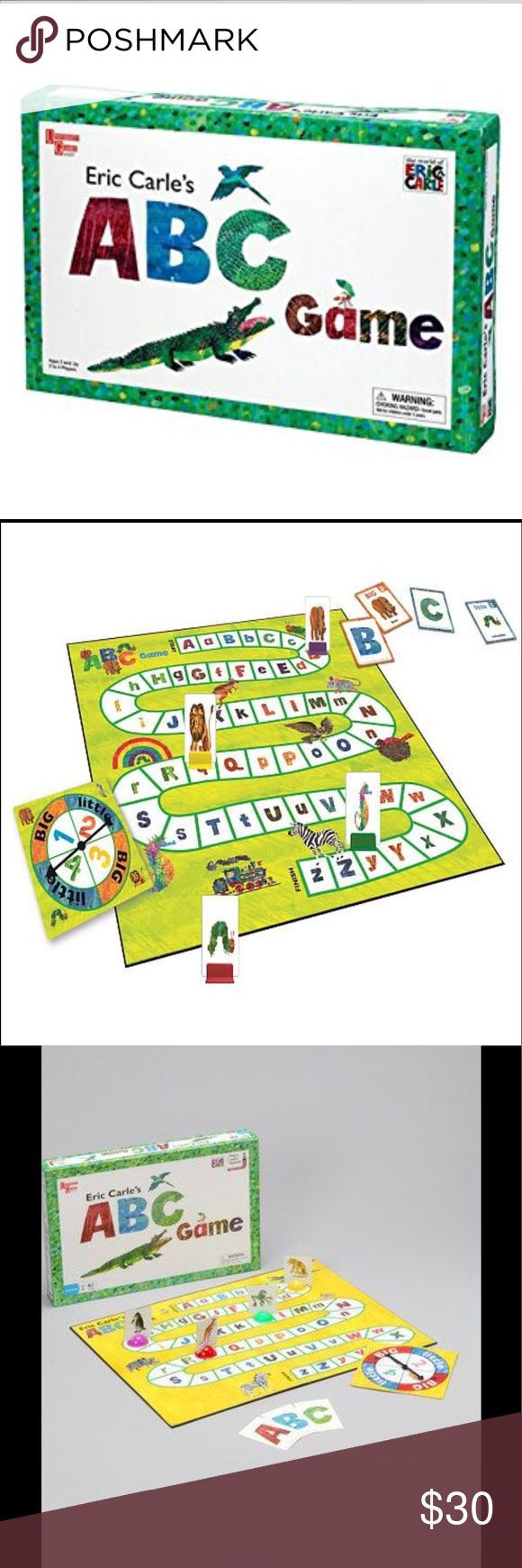 Eric Carl ABC BOARD GAME NEW The Eric Carle ABC Game from University Games is based on the popular books from Eric Carle Kids spin the spinner, make their move, and find the card that matches the letter they land on Kids learn the difference between big and little letters, with cards such as Big ''A'' is for BIG ANT and little ''a'' is for little ant Practice letter recognition and early reading skills University Games offers you and your family creative games that are easy to learn and fun…