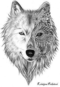 Wolf Tattoo Zentalnge Mandala                                                                                                                                                     Más