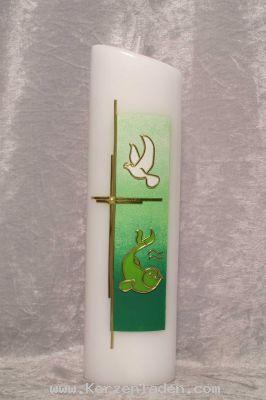 Taufkerze Hintergrund gemalt Grüntöne Taufsymbole und Kreuz aus Wachs