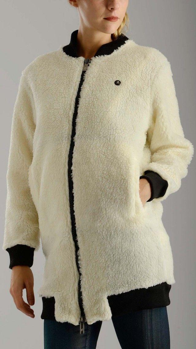 Materiale - White fleece long bomber cardigan
