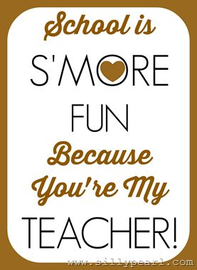 Smores Teacher Printable Gift Tag by The Silly Pearl