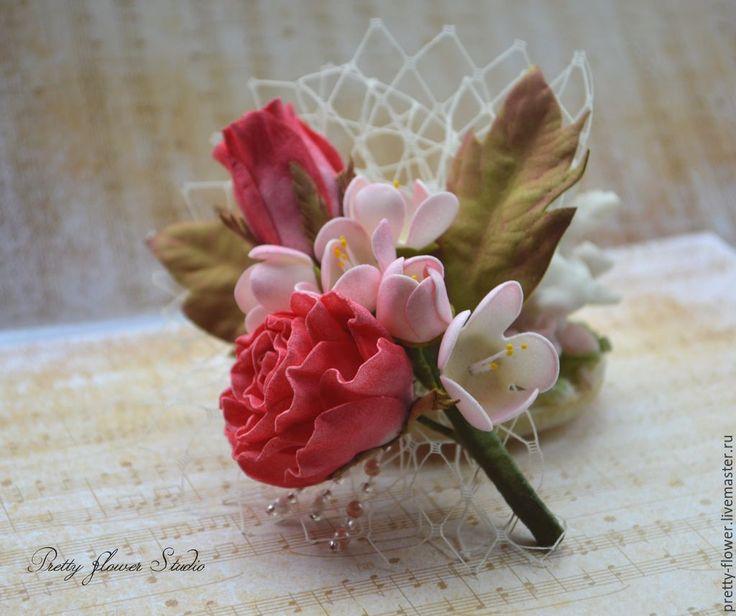 Купить Маленькая Роза, брошь/бутоньерка - разноцветный, бутоньерка, бутоньерка для жениха, бутоньерка свадебная, брошь