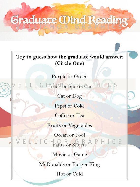 Printable Graduation Games - Graduate Mind Reading - grad party games