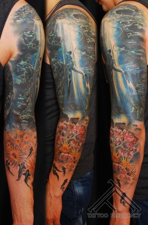 Underwater sleeve tattoo completely healed