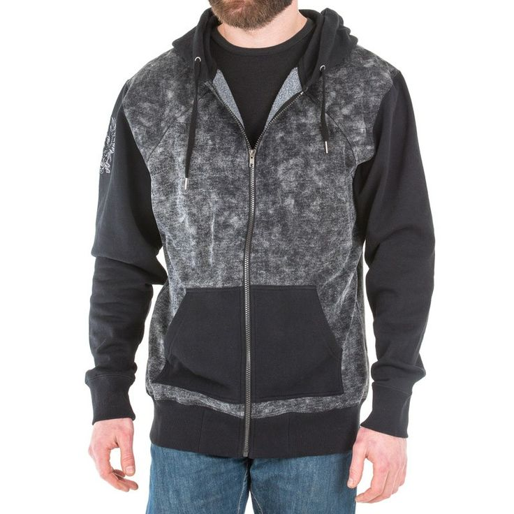 Size XL 280g 80%/20% cotton/polyester blended fleece hoody    Black and grey cloud wash for distressed effect  Solid black sleeves with high quality embroidery of Grey Warden symbol on the right sleeve  Poly fill quilted fleece on shoulders and upper back  Solid black jersey lined hood and pockets  Gunmetal zipper pull and flat draw cords