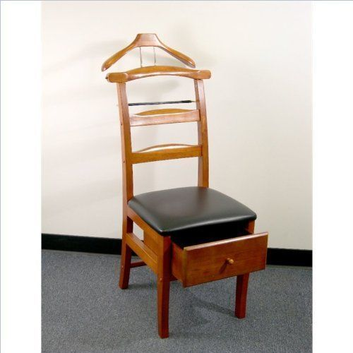 Coat Hanger Valet Chair Contour BacKeeps Suit Wrinkle Free Walnut Finish Proman  #Proman #Contemporary