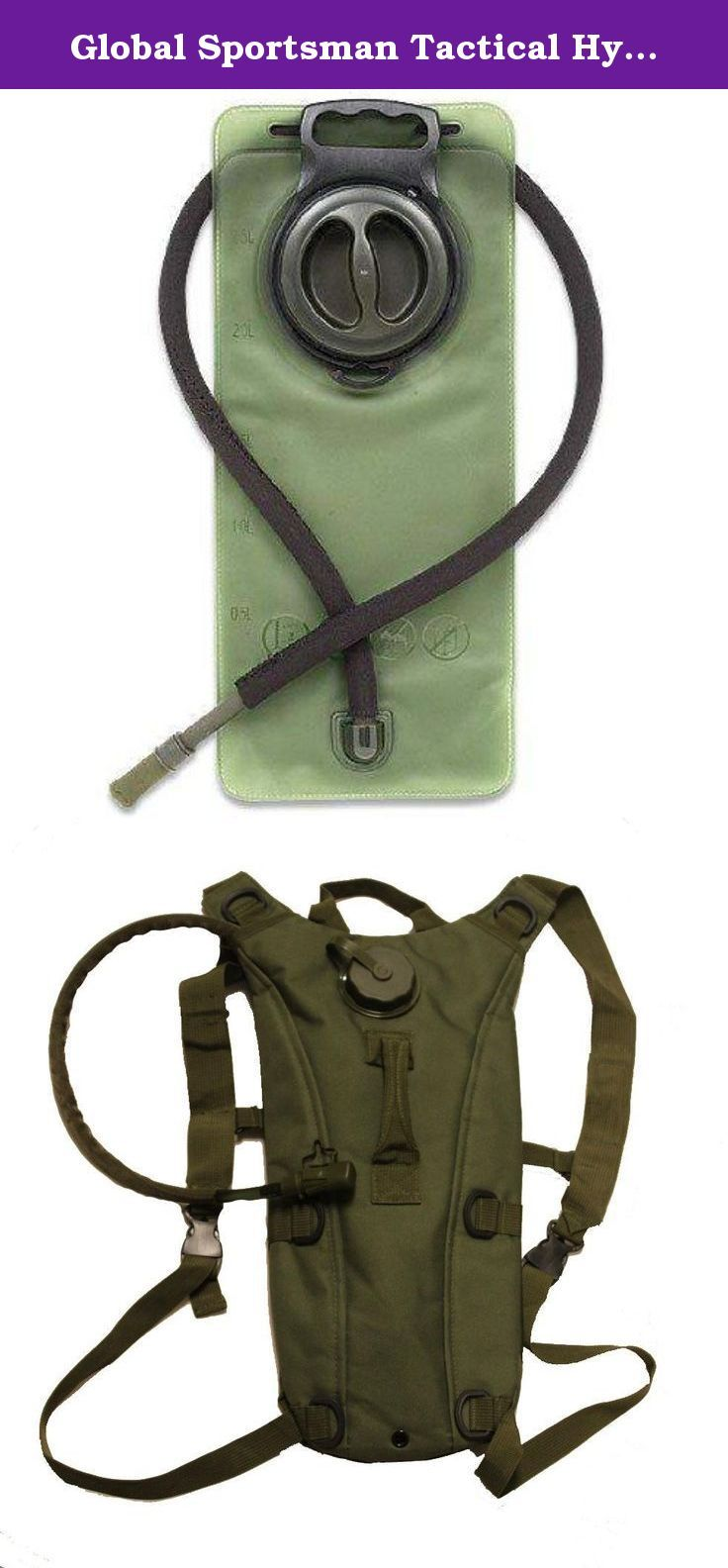 Global Sportsman Tactical Hydration Pack Backpack Carrier With 2.5 Liter / 84 oz. Water Drinking Bladder Reservoir Capacity System Includes Hosing And Hands Free Bite Valve, Heavy Duty D-Rings, Storage Pocket, Adjustable Shoulder Strap & Emergency Carry Handle - Camping Hiking Outdoor Hunting Airsoft Bicycle Running Sports Military Army Patrol (OD Olive Drab Green). Official Product of Global Sportsman, Brand New. Tactical Hydration Bladder Backpack + 2.5 Liter Water Bladder with Hosing....