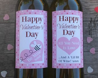 Spotty Valentine's Day Printable Wine Bottle Labels