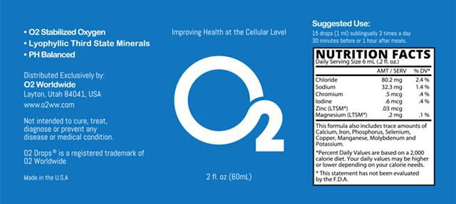 O2 drops all natural active stabilized oxygen & Lyophilic Third State Minerals
