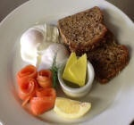 Poached Eggs With cured, marinated salmon and Toast