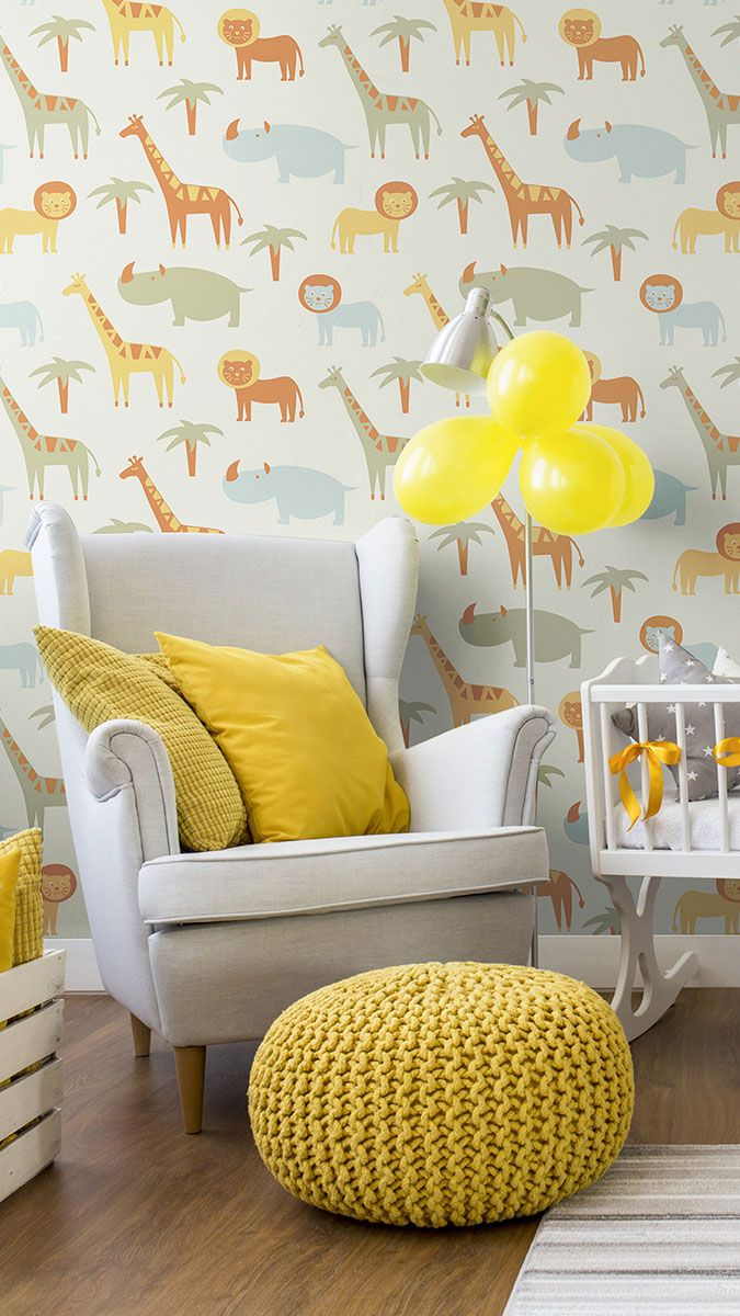 Beige And Brown Animals Baby Peel And Stick Removable Wallpaper 0168 Themed Kids Room Gender Neutral Nursery Safari Removable Wallpaper
