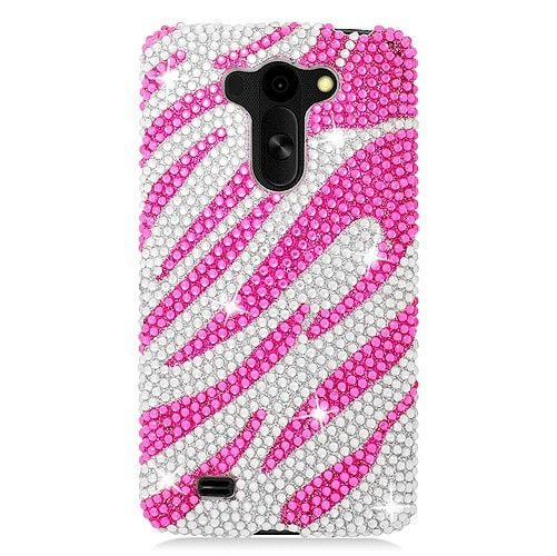 EGC Diamante Decor LG G Vista Case - Pink Zebra #2