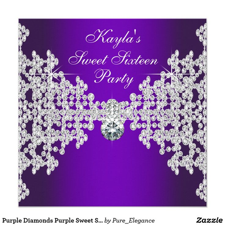 Purple Diamonds Purple Sweet Sixteen Birthday Card Elegant purple diamond sweet sixteen birthday party invitation. This beautiful purple party invitation is easily customized for your event by adding your event details, font style, font size & color, and wording.