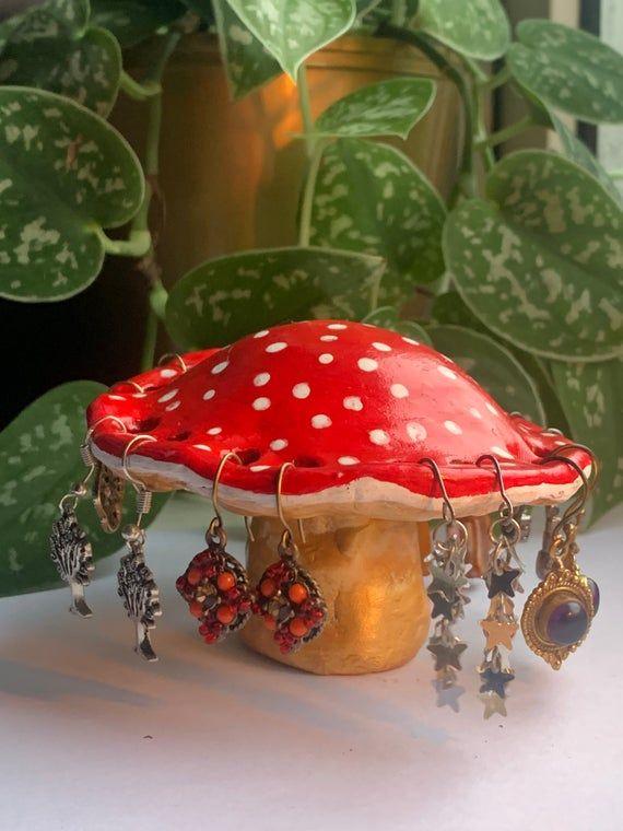 Handmade clay red mushroom earring holder shroom