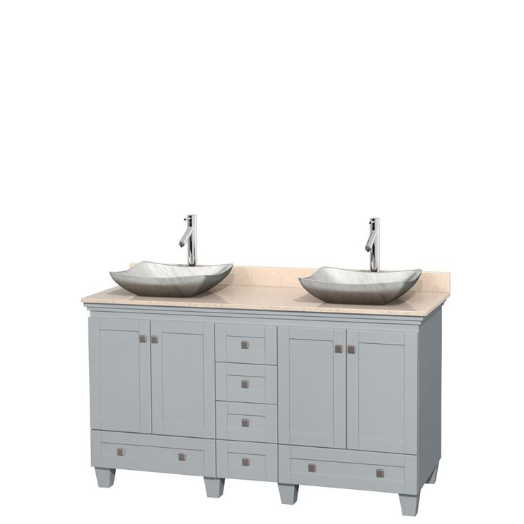 Wyndham Collection Acclaim Oyster Gray 80 In Vessel Double Sink Oak Bathroom Vanity With Natural Marble Top Wcv800080d Double Vanity Bathroom Marble Vanity Tops